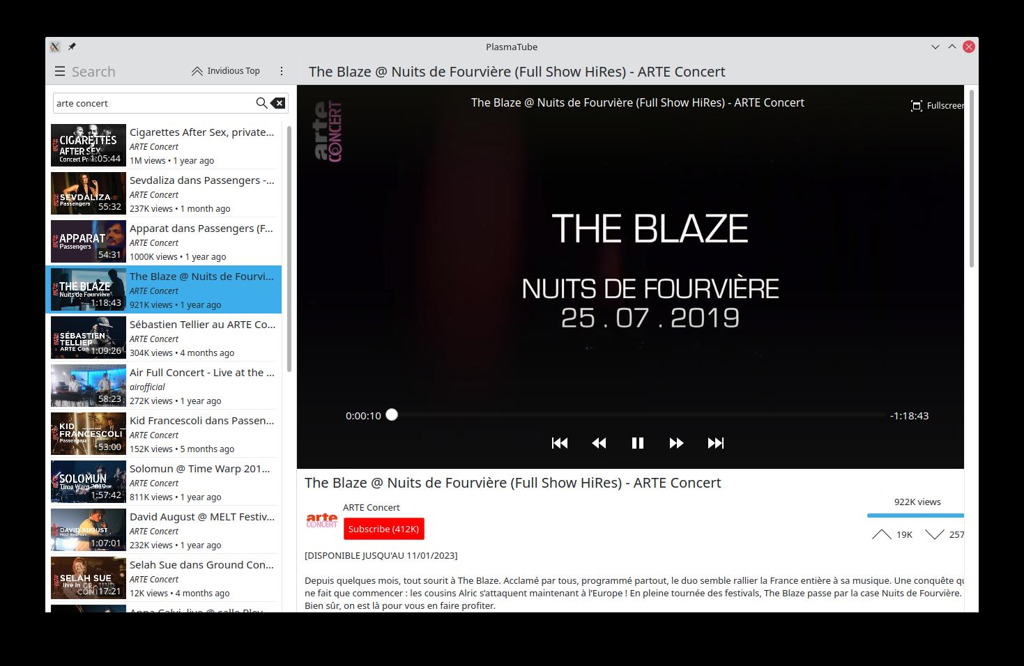 PlasmaTube on the desktop