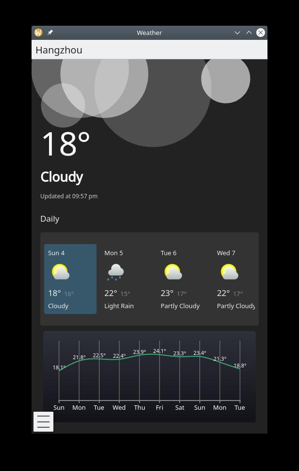 KWeather, weather application
